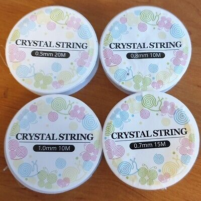$ CDN4.28 • Buy ELASTIC CLEAR CRYSTAL STRING CORD FOR JEWELLERY MAKING 0.5mm 0.7mm 0.8mm &1mm W3