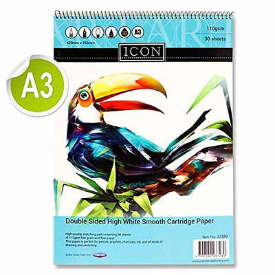 Premier Stationery Icon A3 110gsm Spiral Sketch Pad. 30 Sheets. • 8.39£