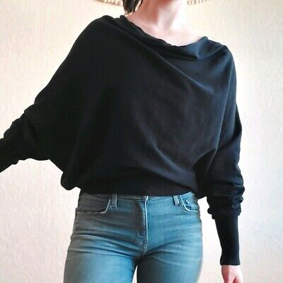 $ CDN31.52 • Buy W By Worth Black Draped Front Long Sleeve Top