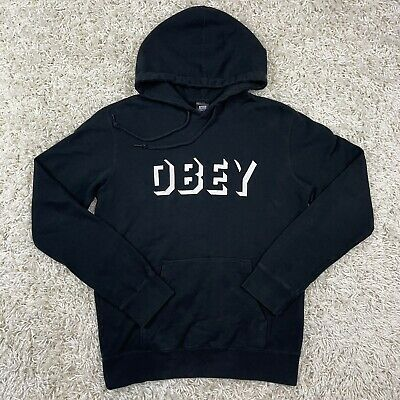 AU53.44 • Buy OBEY Clothing 3D Stitched Logo Spell Out Black Drawstring Hoodie Medium