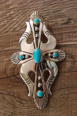 £166.70 • Buy Navajo Indian Jewelry Sterling Silver Turquoise Pin/Pendant By Lee Charley