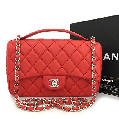 AU1298.36 • Buy CHANEL Red Quilted CC Logo Lambskin 2Way Silver Chain Shoulder Bag /71140