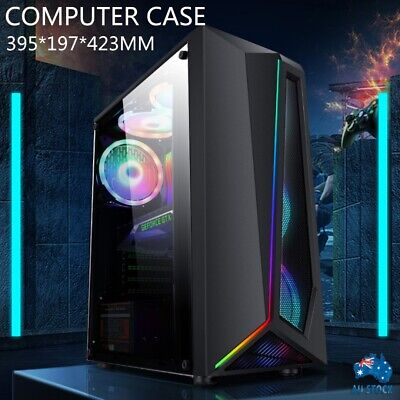 AU50.99 • Buy PC Gaming Computer Case Tempered Glass RGB Strip ATX Tower Desktop Without Fan