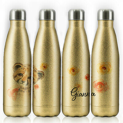 Personalised Water Bottle, Gold Glitter Stainless Steel Flask With Name, 500ml • 14.99£