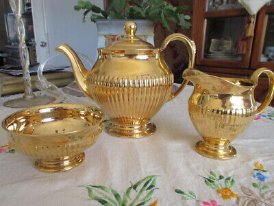 $ CDN285.44 • Buy #77 Vtg Tea Set Royal Winton Grimwades Color Gold England Teapot Creamer Sugar