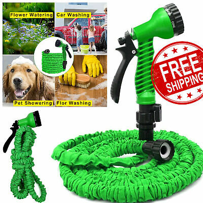 Expandable Outdoor Water Garden Hose Flexible 50FT Pipe Expanding With Spray Gun • 12.49£