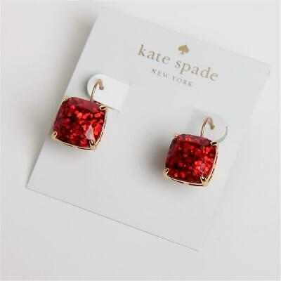 $ CDN33.87 • Buy Kate Spade New York Small Square Stud Red Glitter Leverback Drop Earrings