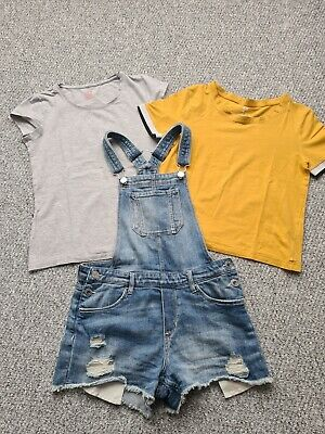 Girls H&M Denim Dungarees Shorts Tshirt Outfit Set Age 11-12 Years • 0.99£
