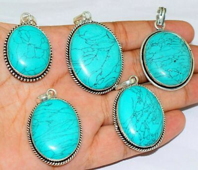 $ CDN60.73 • Buy Turquoise Gemstone 925 Sterling Silver Plated 50Pcs Pendants Lot FP-1895