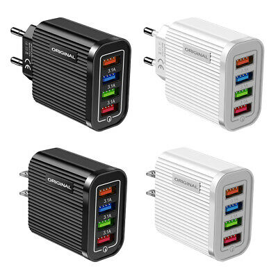 4 Port USB Wall Charger Portable Travel Phone Tablet 3.1A Power Adapter • 3.23£