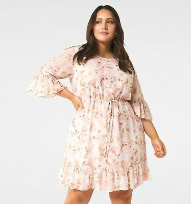 AU79.99 • Buy New With Tags FOREVER NEW Molly Curve Frill Sleeve Dress- Size 16 - RRP $139.99