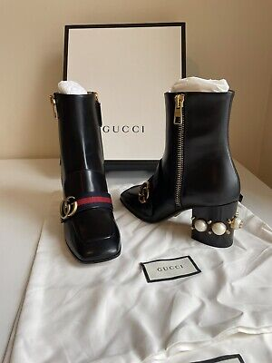 £549 • Buy Gucci Ankle Boots Shoes Size 37.5 EU, With Pearls And GG Detail