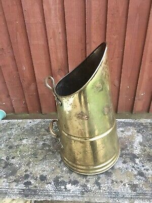 Large Rustic Vintage Brass Coal Scuttle, Vase 43cm Tall, Great Patina. • 24.99£
