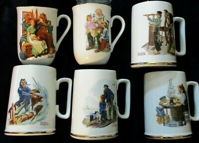 $ CDN30.83 • Buy Vtg 80s Lot Norman Rockwell Museum Collection White Gold Tea Coffee Cup Mug Set