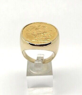 $1199.99 • Buy Men's 9 Ct Gold W/ 22 Ct BRITISH SOVEREIGN 1926 COIN RING  Sz 10.25