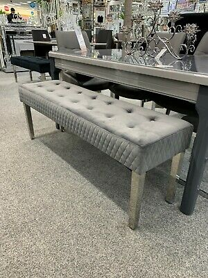 £169.95 • Buy Grey Stainless Steel Tufted Padded Bench Hallway Dining Room Bedroom Seat