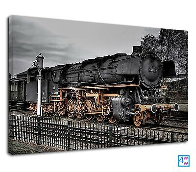 £38.99 • Buy Amazing Old Steam Train On The Railway Track Canvas Print Wall Art Picture