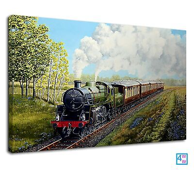 £38.99 • Buy Old Steam Train In The Green Grassland Digital Art Canvas Print Wall Art Picture