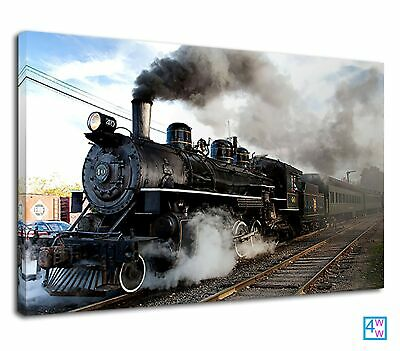 £38.99 • Buy Amazing Old Steam Train At The Railway Station Canvas Print Wall Art Picture