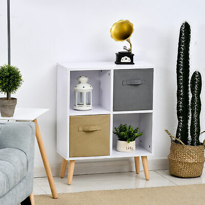 £29.99 • Buy Freestanding 4 Cube Storage Cabinet Unit W/ 2 Drawers Bookcase Display Shelves