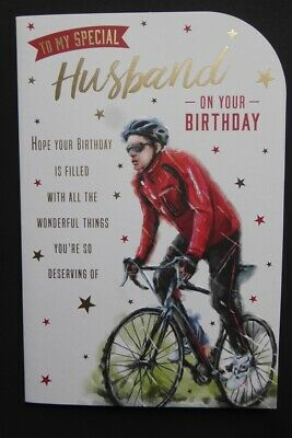£2.99 • Buy To My Special Husband Birthday Card Full Colour Inside Foil Detail Cycling 9 X 6