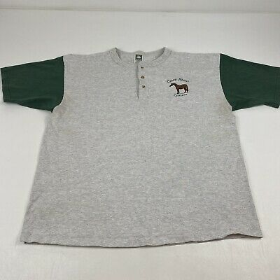 £12.80 • Buy Vintage 90's Crazy About Critters Baseball Tee Gray Horse Embroidered Green XL