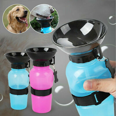 Portable Dog Cat Water Bottle Pet Dispenser Travel Feeder Bowl Outdoor 500ml UK • 4.68£