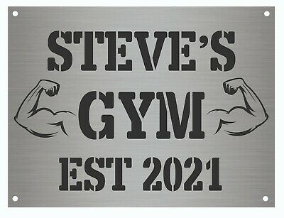 £6.98 • Buy Personalised Gym Sign Metal Plaque Gifts, Bar, Kitchen, A5 Size