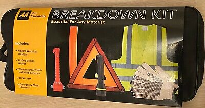 £9.99 • Buy AA Essential Car Breakdown Kit Visibility Vest Triangle Gloves Torch Hammer