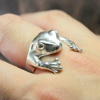 Frog Ring Women Men Silver Retro Creative Personality Ring Jewelry Xmax Gift UK