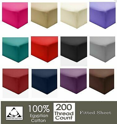£9.95 • Buy Extra Deep Fitted Sheets 16 /40CM 100% Egyptian Cotton 200TC All 4 Sizes