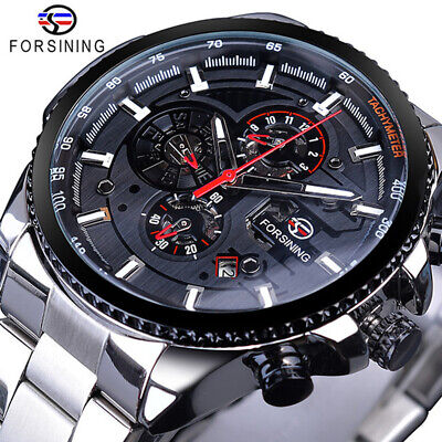 £28.69 • Buy Luxury Mens Watches Mechanical Automatic Self-Winding Stainless Steel Skeleton