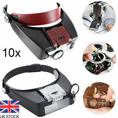 £9.50 • Buy 10X Magnifier Loupe With Box Magnifying Glass Headset LED Light Head Headband