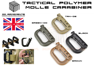 £5.99 • Buy MOLLE D Ring Locking Buckle Durable HD Polymer Tactical Carabiner Belt Clip UK