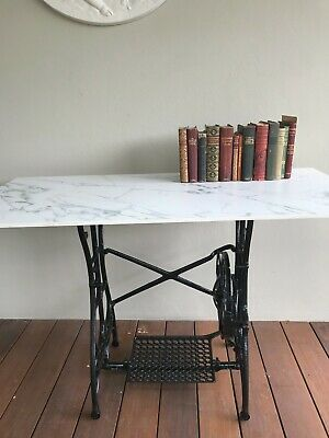 AU150 • Buy ANTIQUE VINTAGE WHITE SEWING MACHINE ~ SHABBY CHIC HALL TABLE ~ INDUSTRIAL '20s