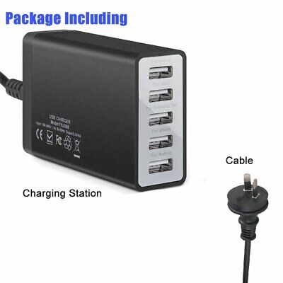 AU23.19 • Buy Multi Port USB Charger 5 Ports 8A Adapter Travel Wall USB Hub Charging Station