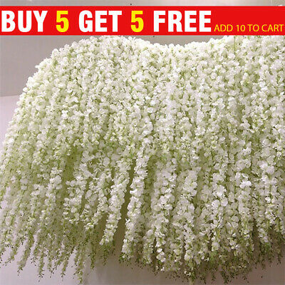 £3.99 • Buy 2M Artificial Silk Fake Flower Ivy Garland Vine Wedding Wisteria Leaf Hanging UK