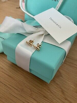 £470 • Buy Genuine Tiffany & Co 18ct Gold Hallmarked Infinity Earrings With Box And Pouch