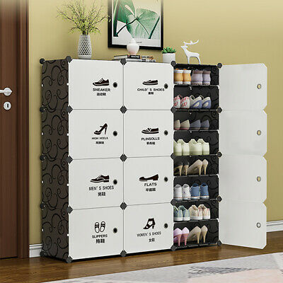AU37.36 • Buy Shoe Rack Stackable Cabinet Storage Organizer Portable Wardrobe With Cover