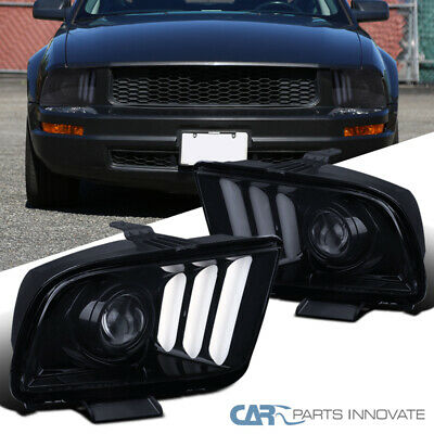 $310.95 • Buy For 05-09 Ford Mustang Glossy Black Projector Headlights Lamps W/ LED Bar L+R