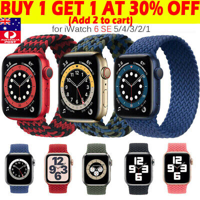 AU13.99 • Buy Braided Nylon Solo Loop Band Strap For Apple Watch Series 6 5 4 3 SE 38/40/44 MM