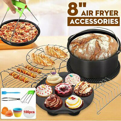 AU23.05 • Buy Air Fryer Accessories 8 Inch Frying Pan Cake Oven Pizza Tray BBQ Rack Baking Pot