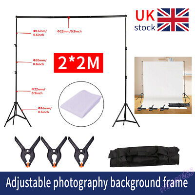 Stand 2×2m Studio Background Support Product Shooting Backdrop Frame Kit❤ • 22.89£