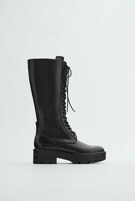 £36.99 • Buy New Zara Lace-up Knee-High Flatform Boots Size 4/37