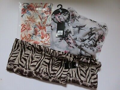 £10 • Buy Bundle Of 3 Scarves New + Tags Lightweight Animal Print / Swallows / Floral