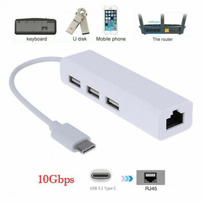 AU13.75 • Buy USB 3.1 Type C To HUB 3 Port & RJ45 Ethernet Adapter 3.0 USB-C PC MAC White