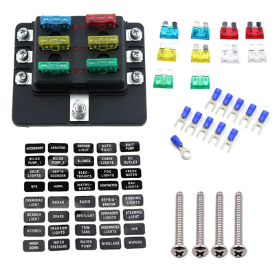 AU18.99 • Buy 29Pcs 6 Way LED Blade Fuse Box With LED Indicators Fuse Holder Accessories