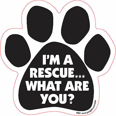$4.89 • Buy Dog Magnetic Paw Decal - I'm A Rescue, What Are You ? - Made In USA