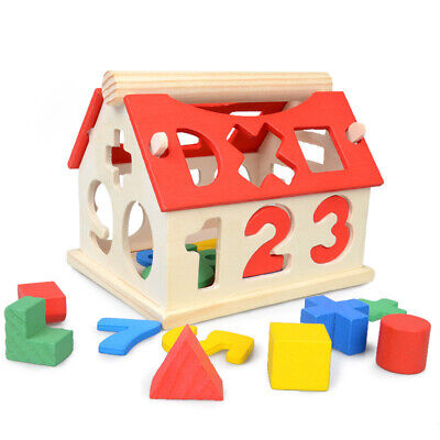 £7.99 • Buy Toddler Puzzle Toys Educational Wooden House Wood Number Shape Early Learning