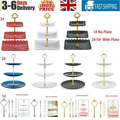 £10.28 • Buy Cake Stand Plastic Metal Porcelain Afternoon Tea Wedding Plates Party Tableware